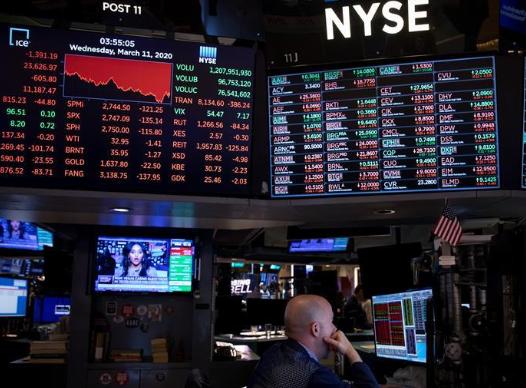 纽约股市三大股指11日暴跌 道琼斯跌幅为5.86%