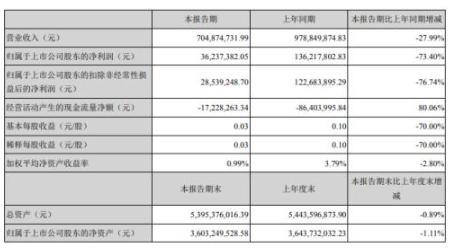 三丰智能(300276)上半年净利3624万 同比减少73%